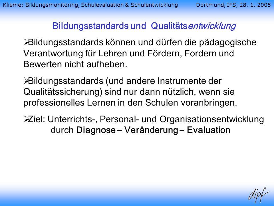Bildungsstandards und Qualitätsentwicklung