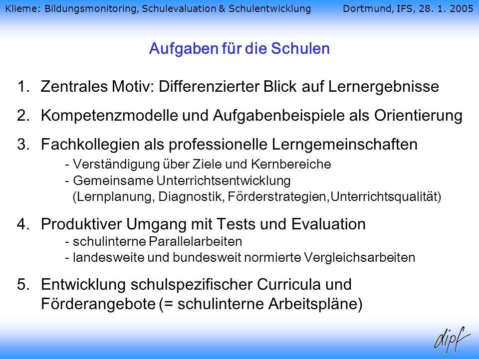Aufgaben für die Schulen