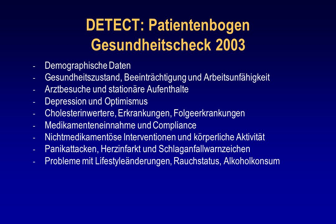 DETECT: Patientenbogen Gesundheitscheck 2003
