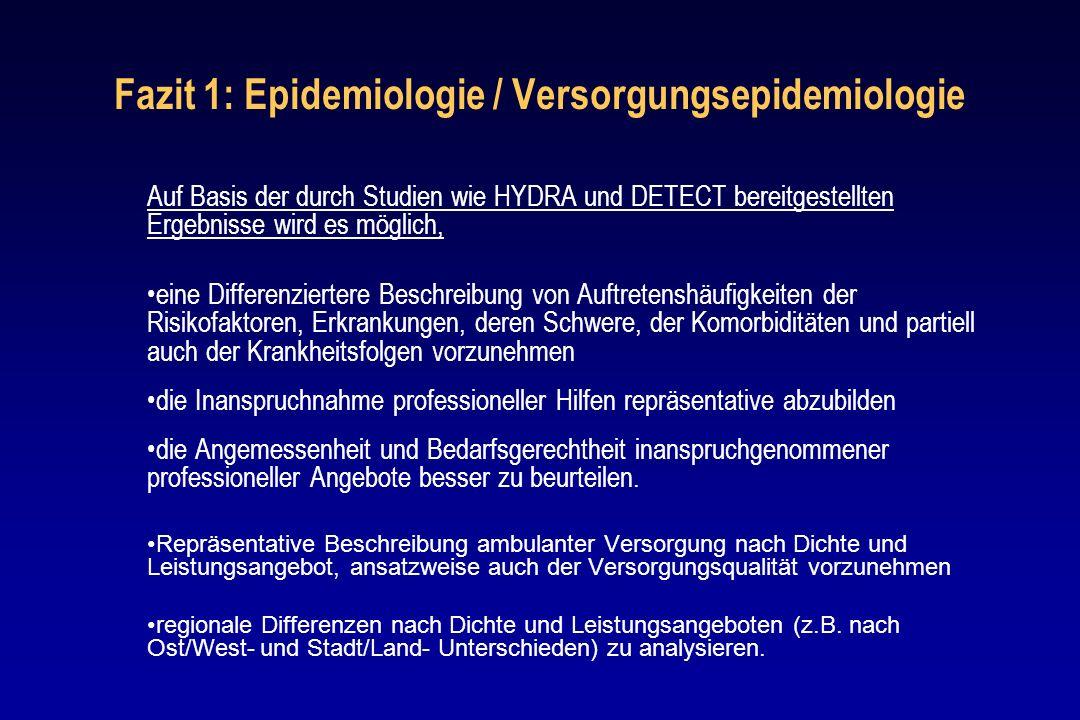 Fazit 1: Epidemiologie / Versorgungsepidemiologie
