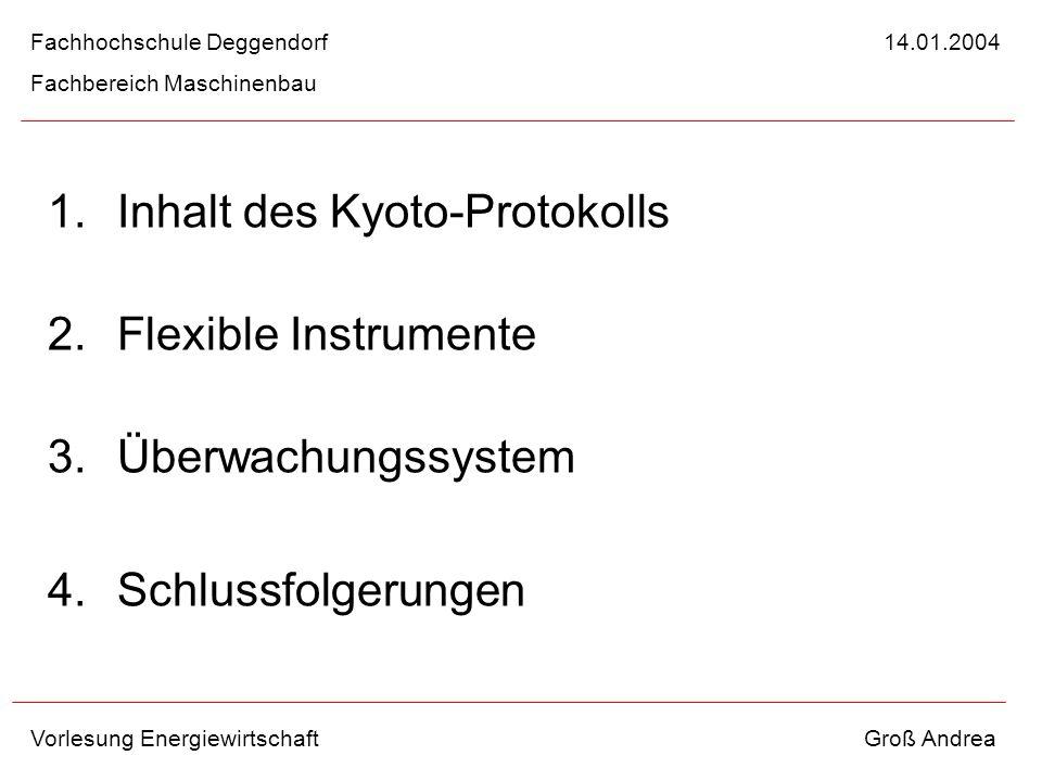 Inhalt des Kyoto-Protokolls Flexible Instrumente Überwachungssystem