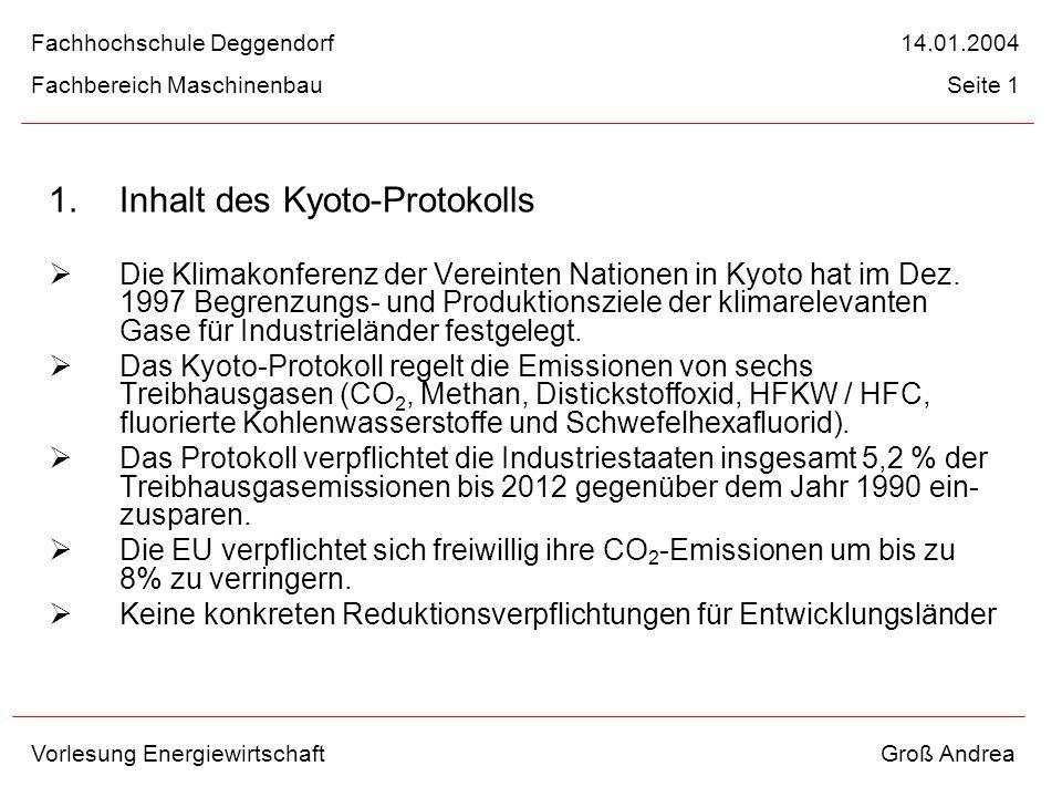Inhalt des Kyoto-Protokolls