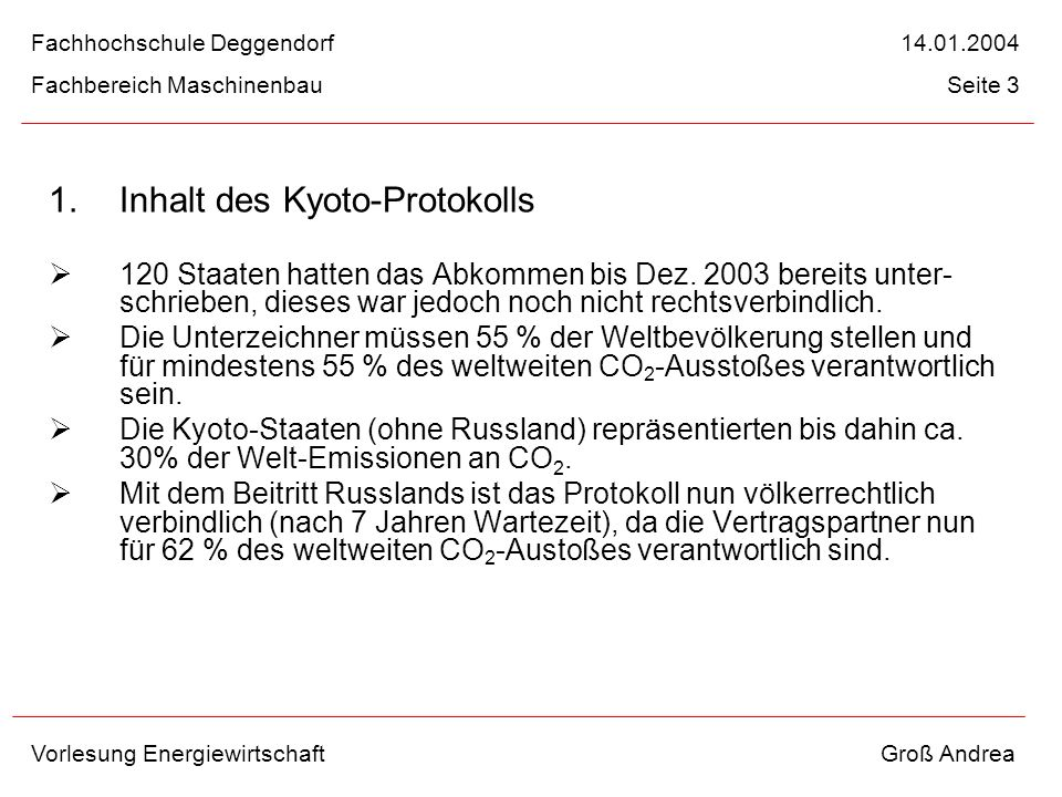1. Inhalt des Kyoto-Protokolls