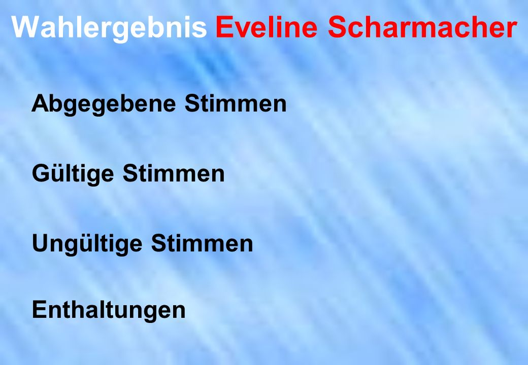Wahlergebnis Eveline Scharmacher