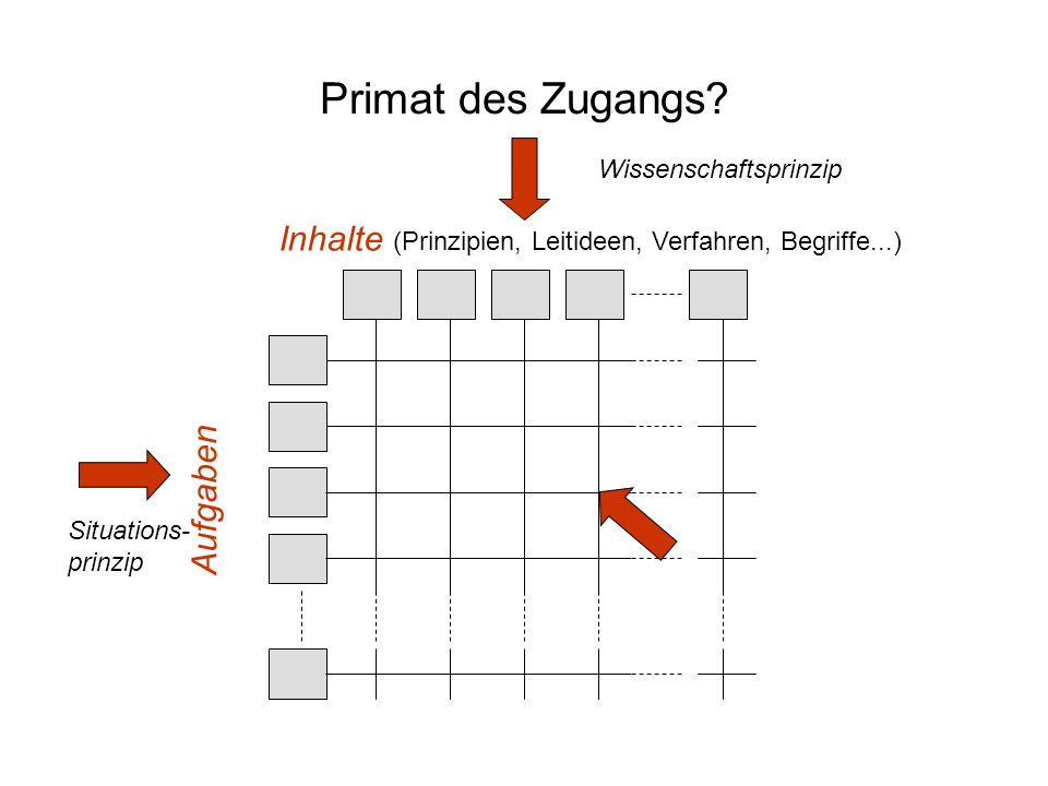 Primat des Zugangs Wissenschaftsprinzip. Inhalte (Prinzipien, Leitideen, Verfahren, Begriffe...) Aufgaben.