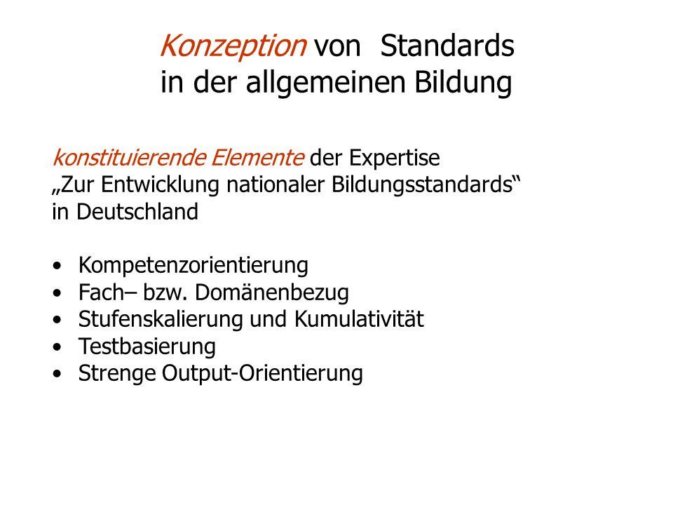 Konzeption von Standards in der allgemeinen Bildung