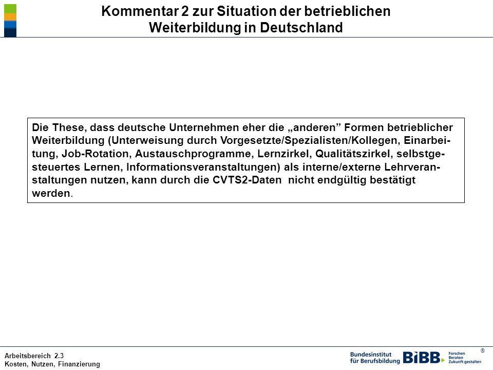 Kommentar 2 zur Situation der betrieblichen Weiterbildung in Deutschland