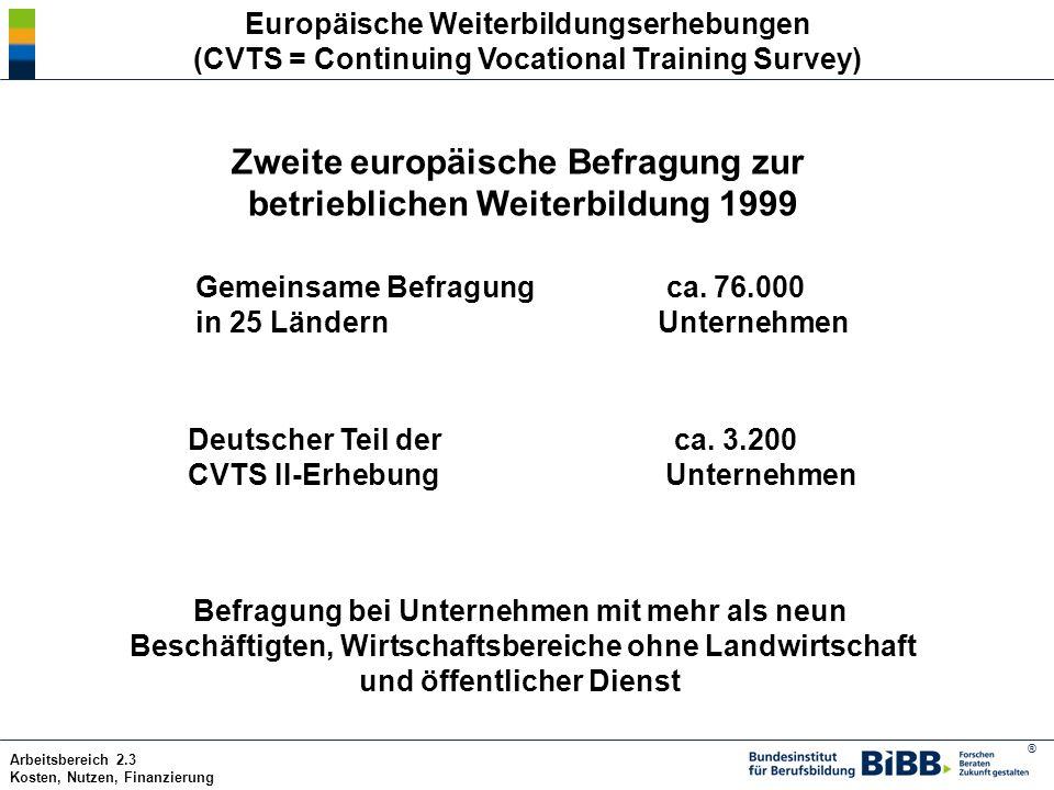 Zweite europäische Befragung zur betrieblichen Weiterbildung 1999