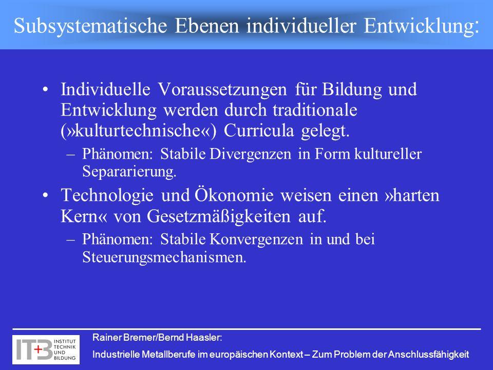 Subsystematische Ebenen individueller Entwicklung: