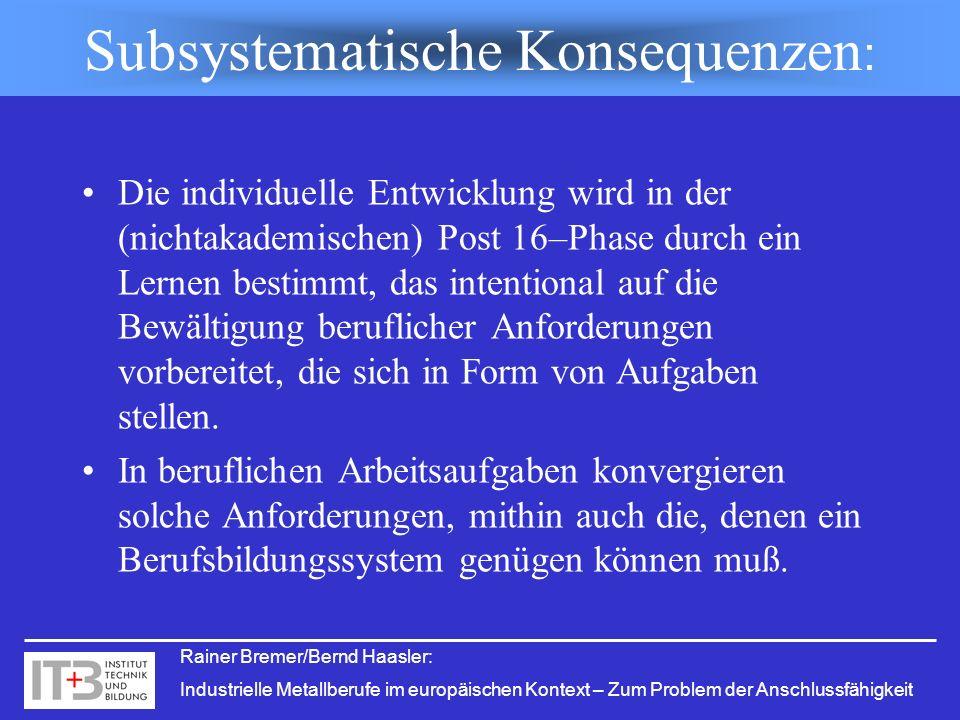 Subsystematische Konsequenzen: