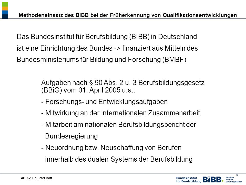 Das Bundesinstitut für Berufsbildung (BIBB) in Deutschland