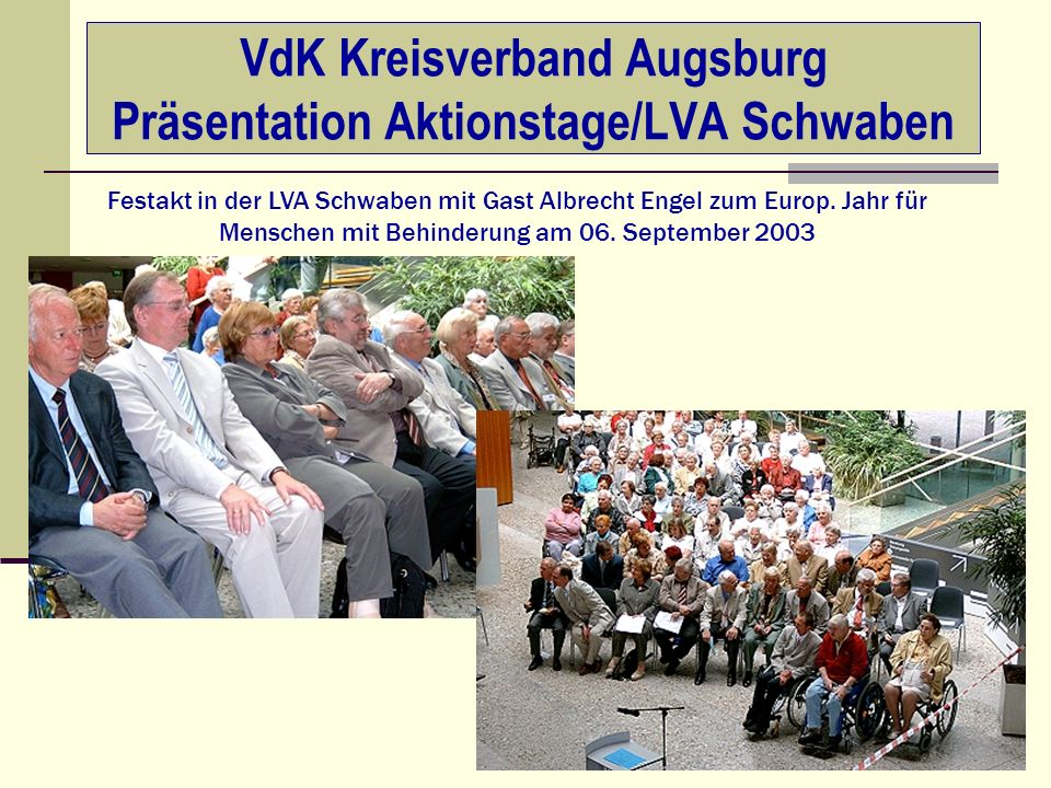 VdK Kreisverband Augsburg Präsentation Aktionstage/LVA Schwaben