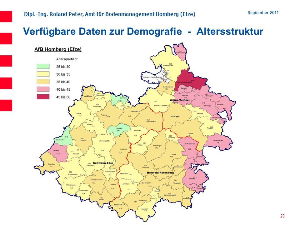 Verfügbare Daten zur Demografie - Altersstruktur