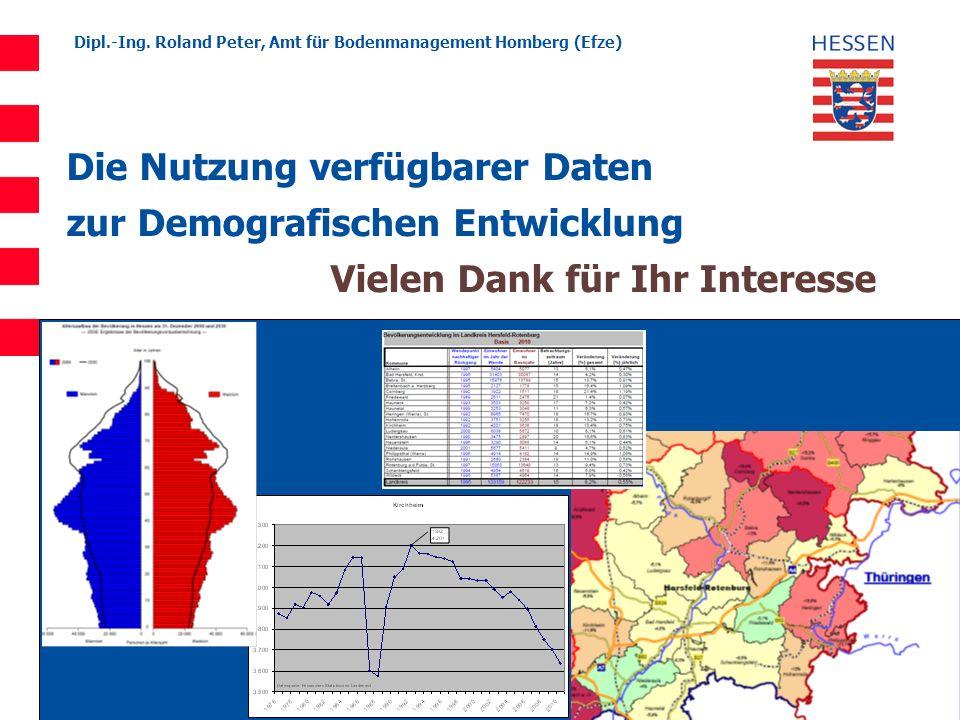 Die Nutzung verfügbarer Daten zur Demografischen Entwicklung Vielen Dank für Ihr Interesse