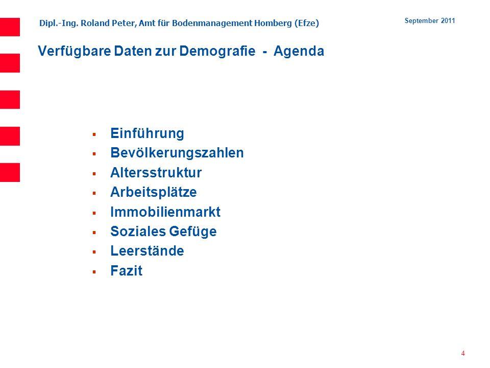 Verfügbare Daten zur Demografie - Agenda