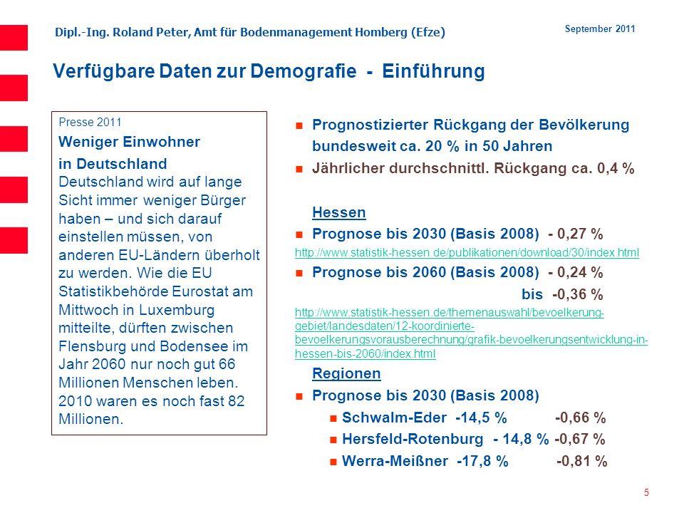 Verfügbare Daten zur Demografie - Einführung