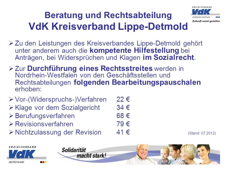 Beratung und Rechtsabteilung VdK Kreisverband Lippe-Detmold