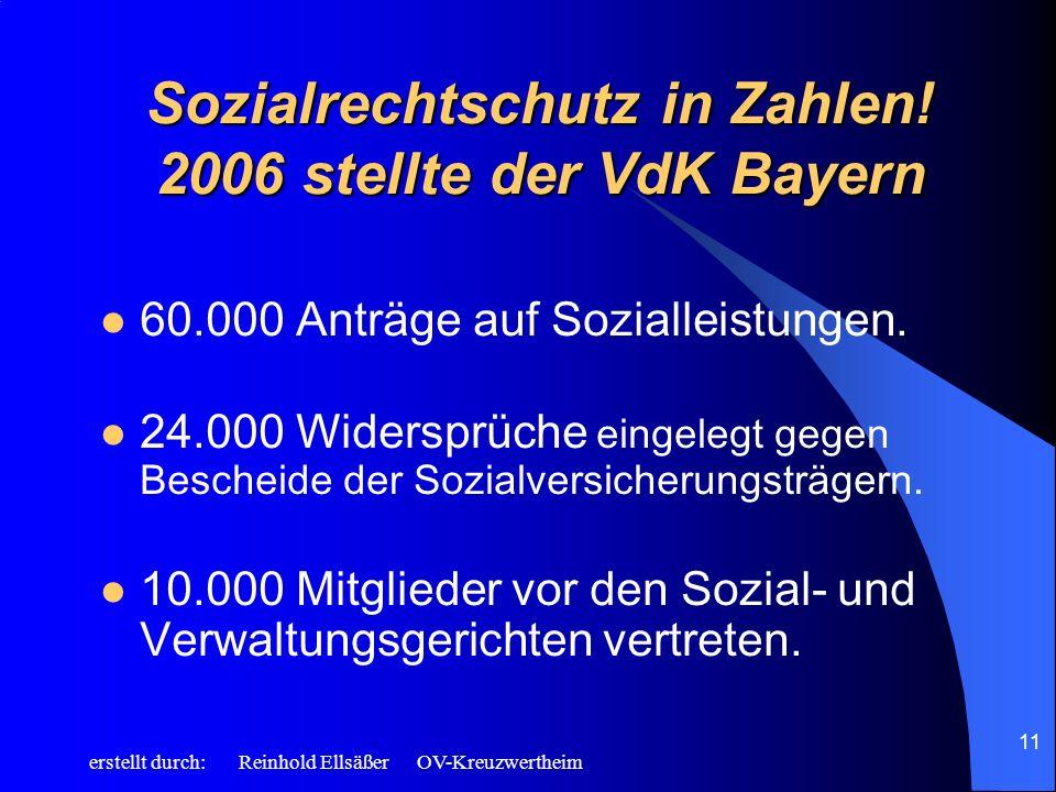Sozialrechtschutz in Zahlen! 2006 stellte der VdK Bayern