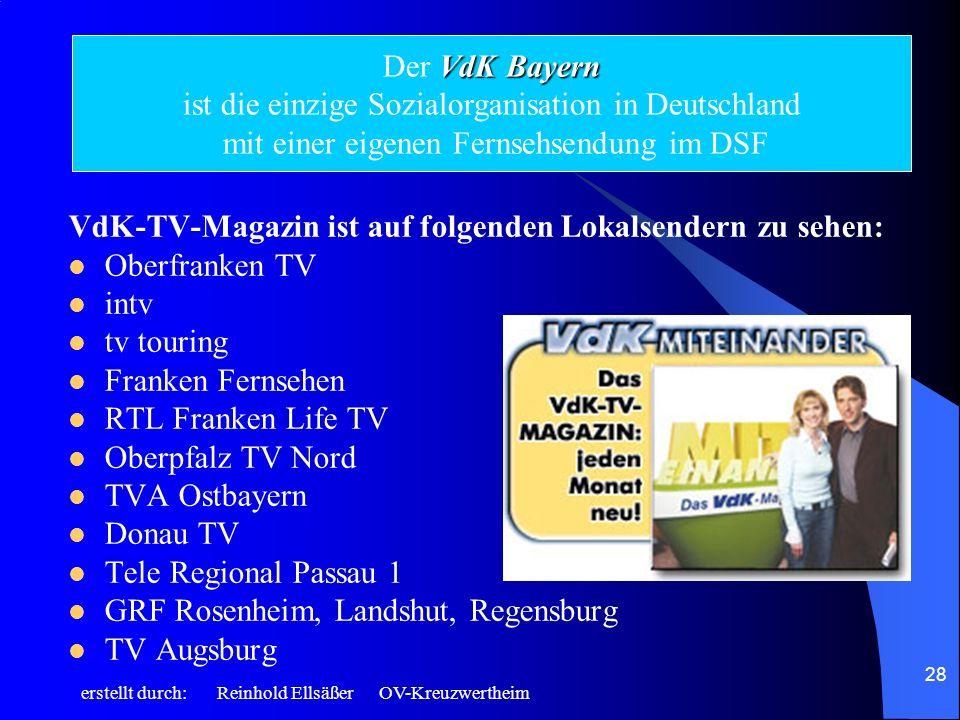 VdK-TV-Magazin ist auf folgenden Lokalsendern zu sehen: Oberfranken TV