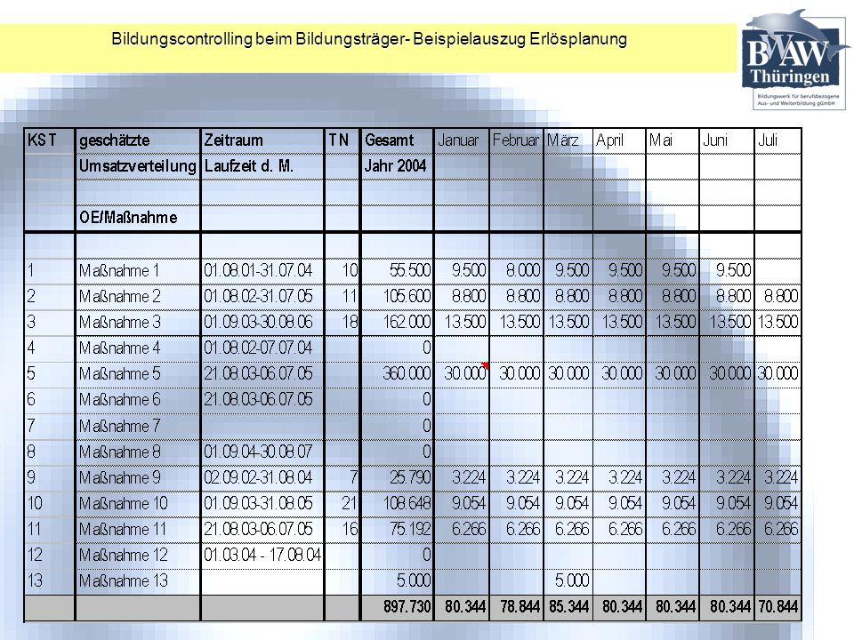 Bildungscontrolling beim Bildungsträger- Beispielauszug Erlösplanung