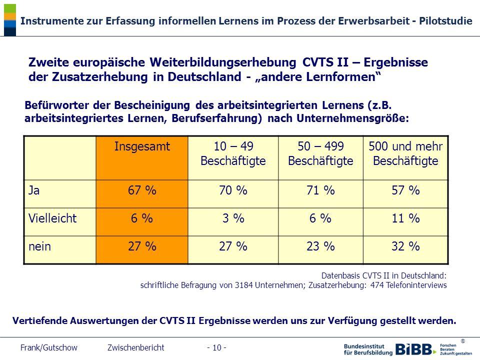 """Zweite europäische Weiterbildungserhebung CVTS II – Ergebnisse der Zusatzerhebung in Deutschland - """"andere Lernformen"""
