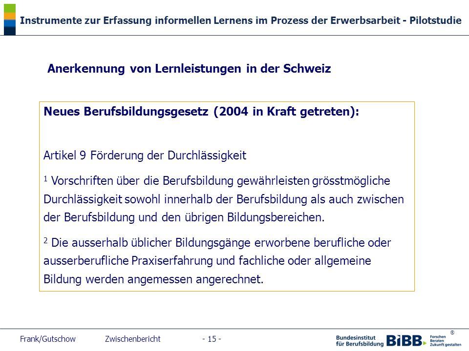Anerkennung von Lernleistungen in der Schweiz