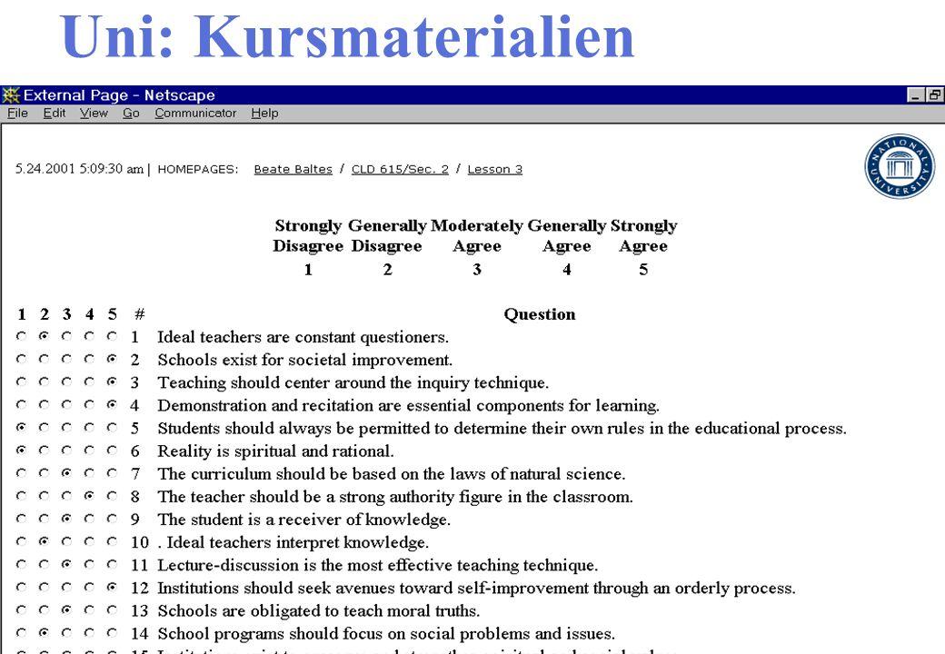 Uni: Kursmaterialien Interaktive Webseite Ergebnisse besprechen
