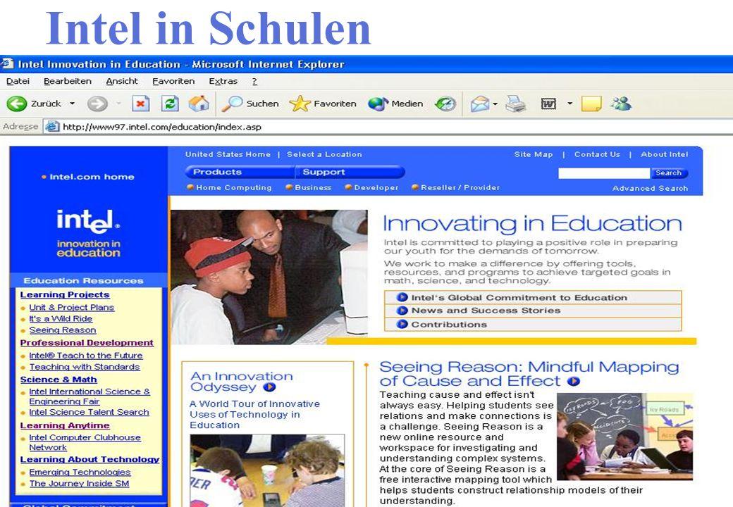 Intel in Schulen Interaktive Webseite Ergebnisse besprechen