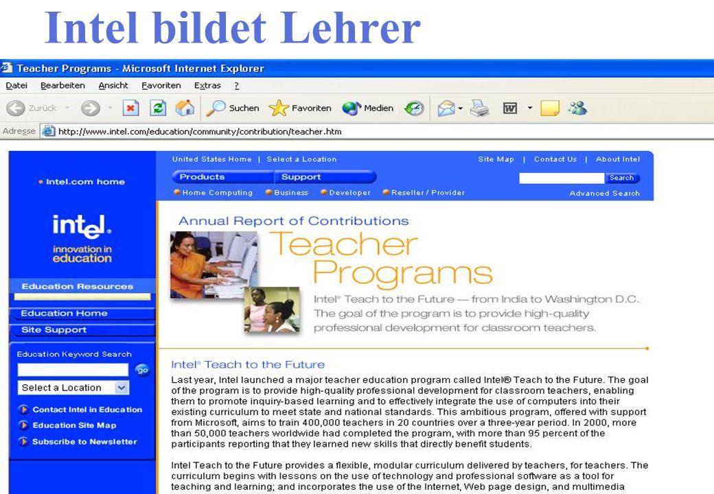 Intel bildet Lehrer Interaktive Webseite Ergebnisse besprechen