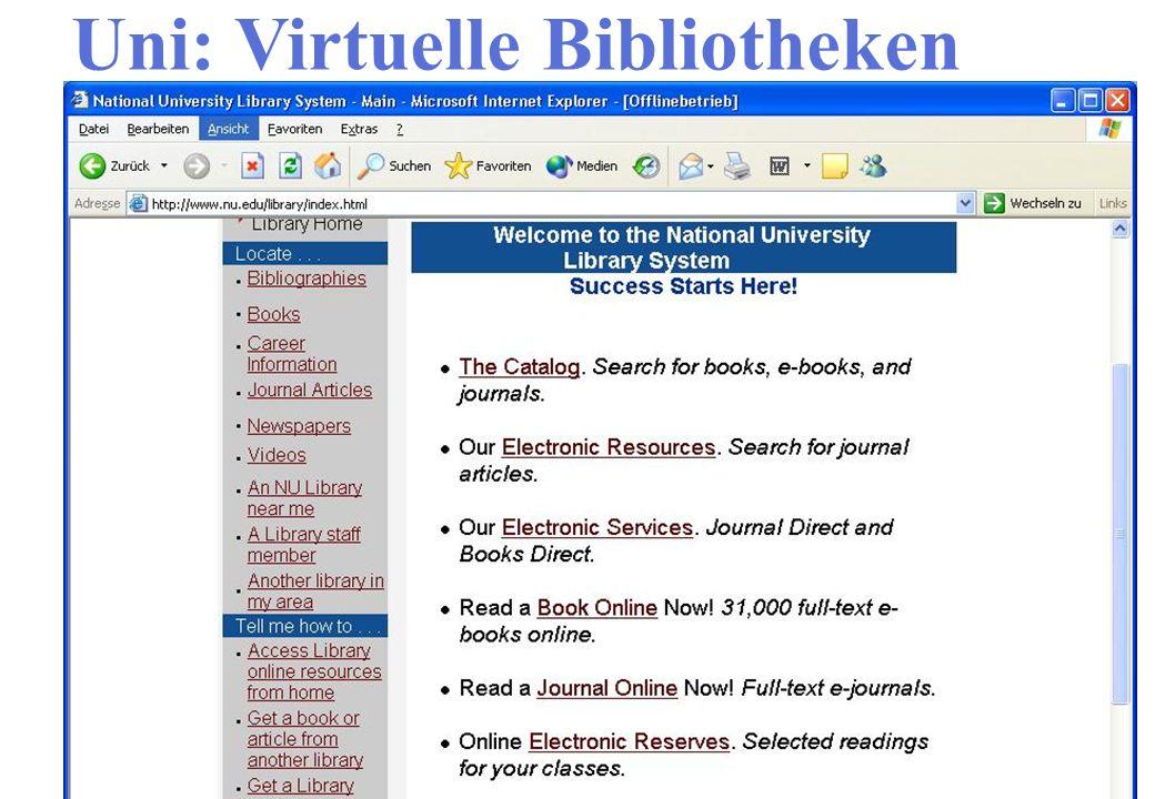 Uni: Virtuelle Bibliotheken