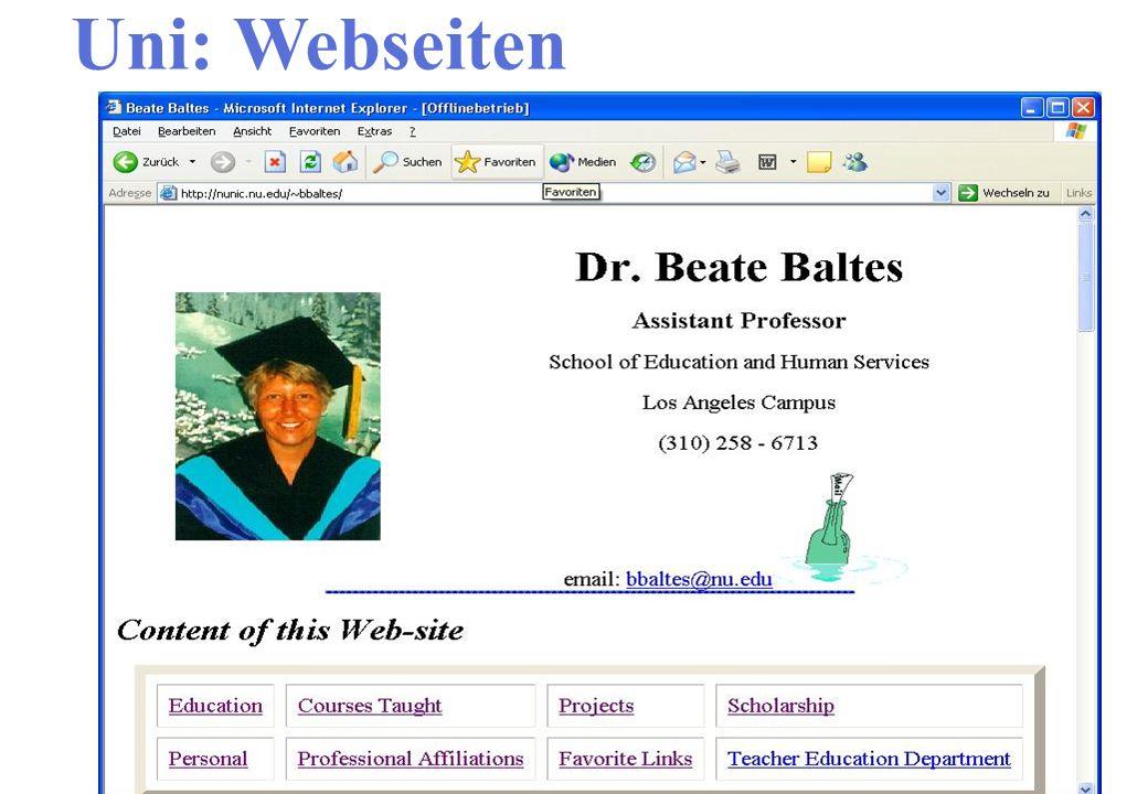 Uni: Webseiten Interaktive Webseite Ergebnisse besprechen
