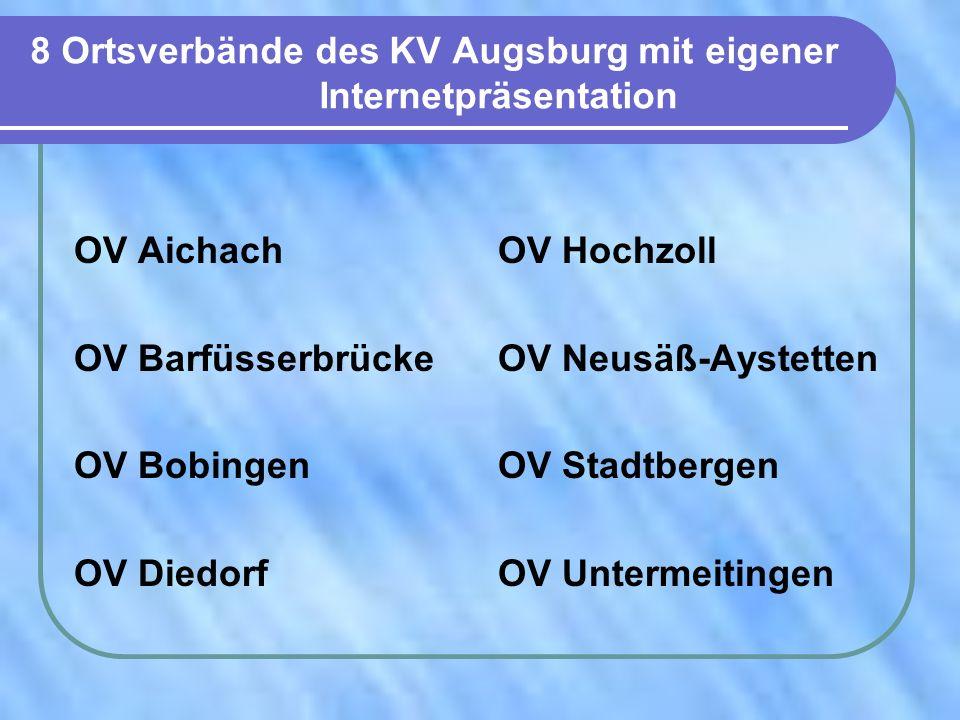 8 Ortsverbände des KV Augsburg mit eigener Internetpräsentation