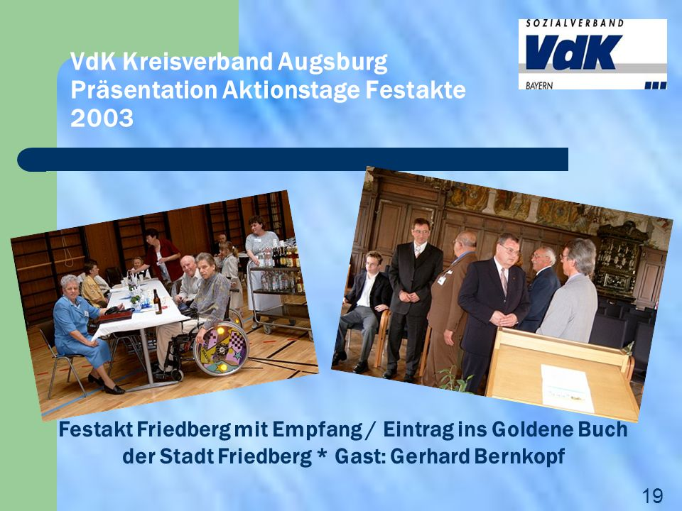 VdK Kreisverband Augsburg Präsentation Aktionstage Festakte 2003