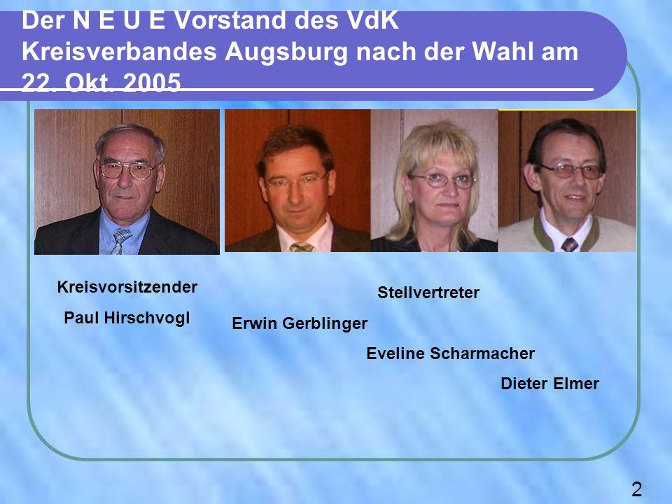 Der N E U E Vorstand des VdK Kreisverbandes Augsburg nach der Wahl am 22. Okt. 2005