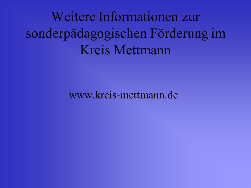 Weitere Informationen zur sonderpädagogischen Förderung im Kreis Mettmann