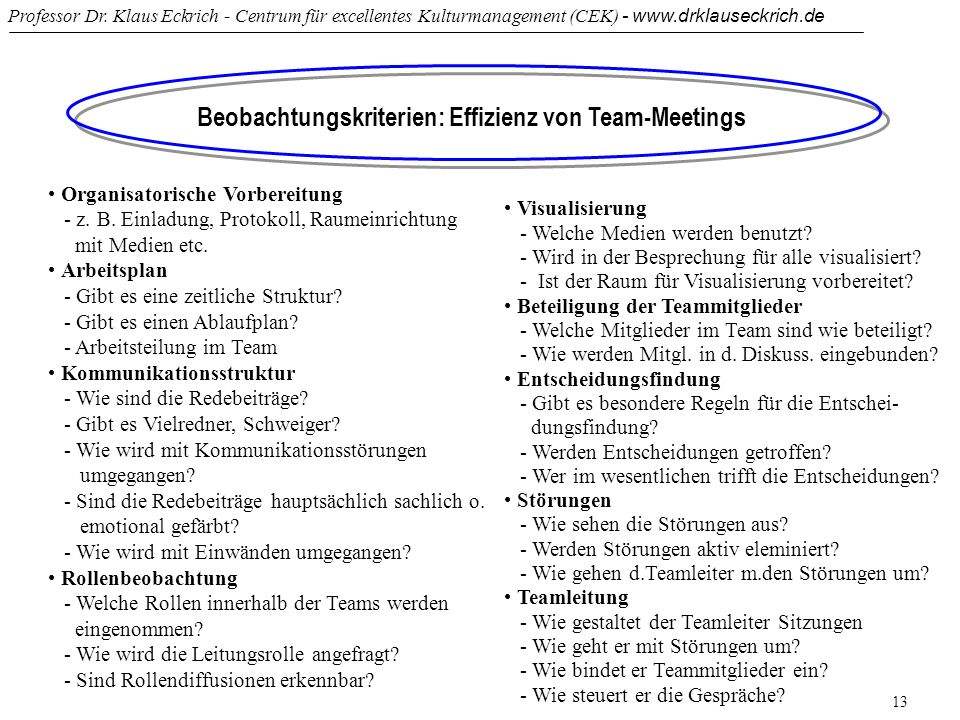 Beobachtungskriterien: Effizienz von Team-Meetings
