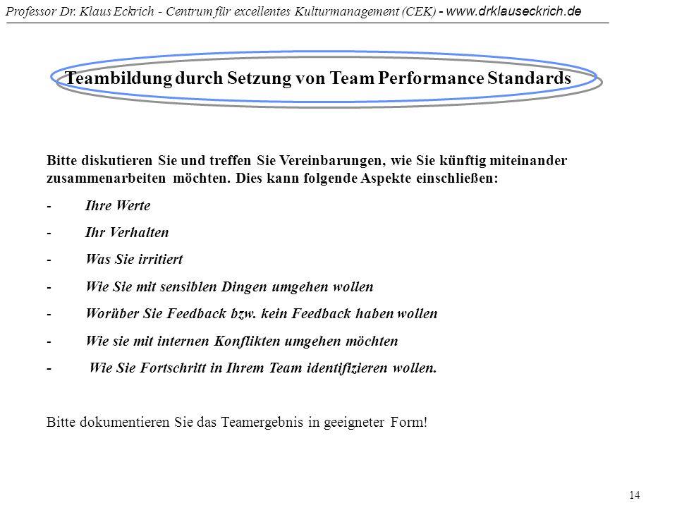 Teambildung durch Setzung von Team Performance Standards
