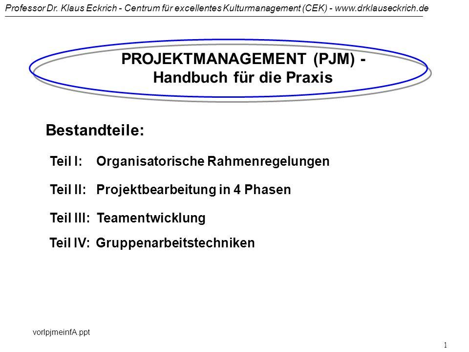 PROJEKTMANAGEMENT (PJM) - Handbuch für die Praxis