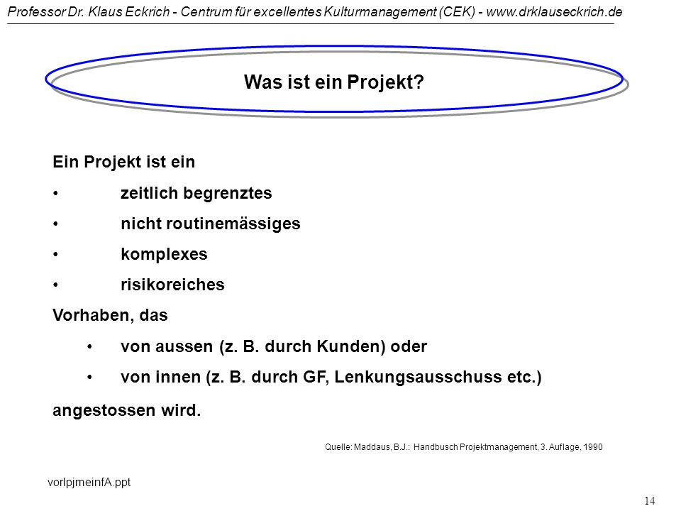 Quelle: Maddaus, B.J.: Handbusch Projektmanagement, 3. Auflage, 1990