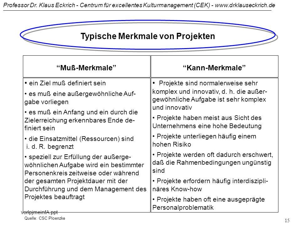 Typische Merkmale von Projekten