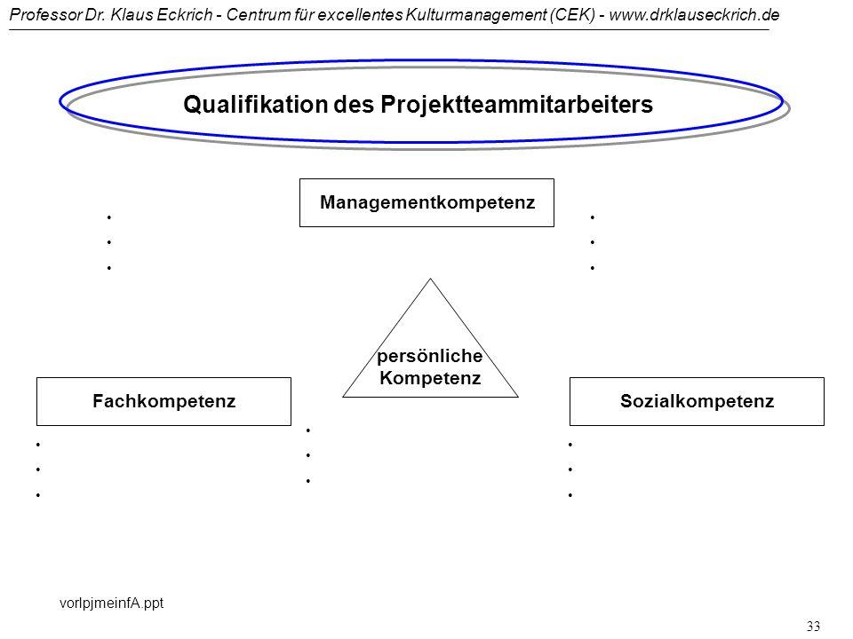 Qualifikation des Projektteammitarbeiters persönliche Kompetenz
