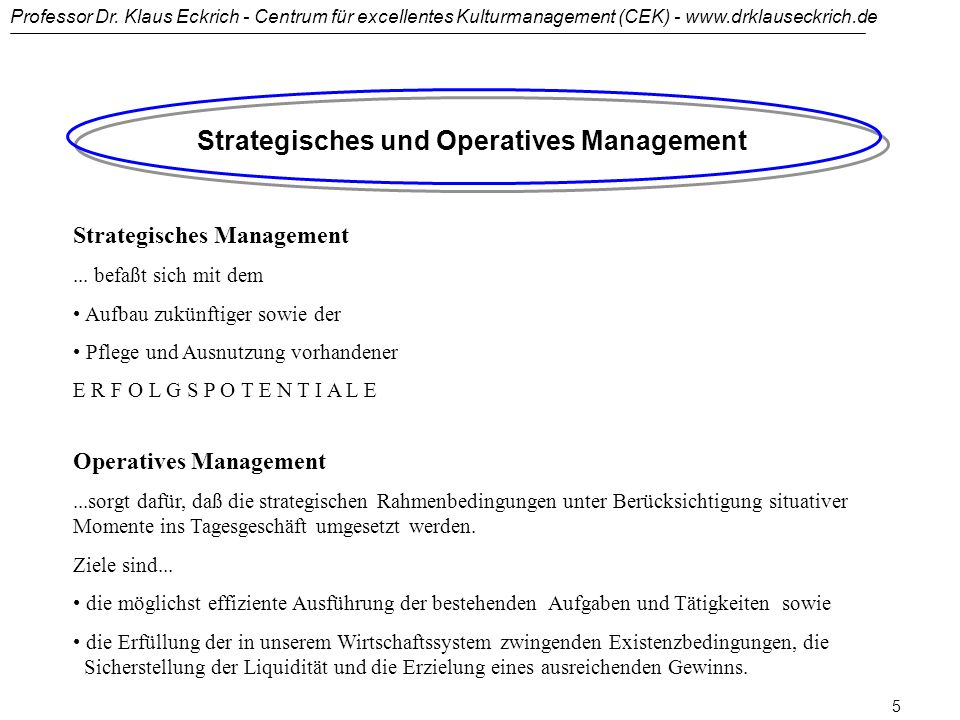 Strategisches und Operatives Management