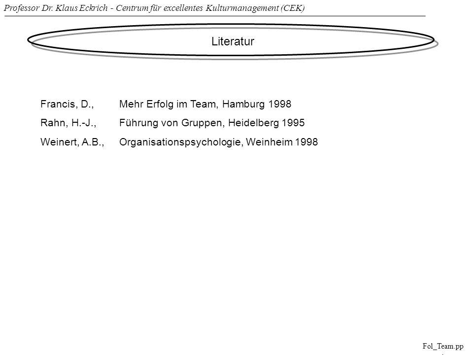 Literatur Francis, D., Mehr Erfolg im Team, Hamburg 1998