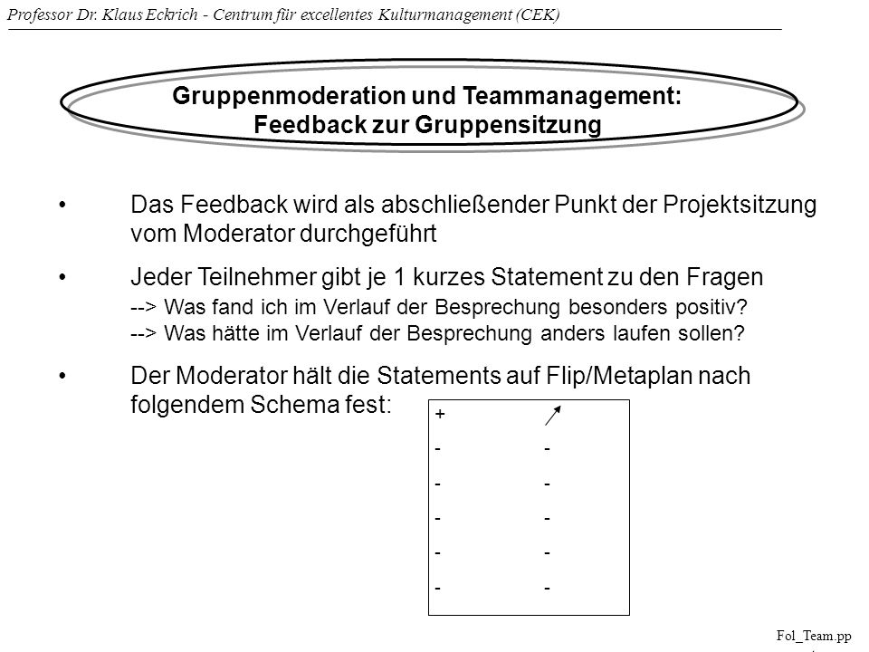 Gruppenmoderation und Teammanagement: Feedback zur Gruppensitzung