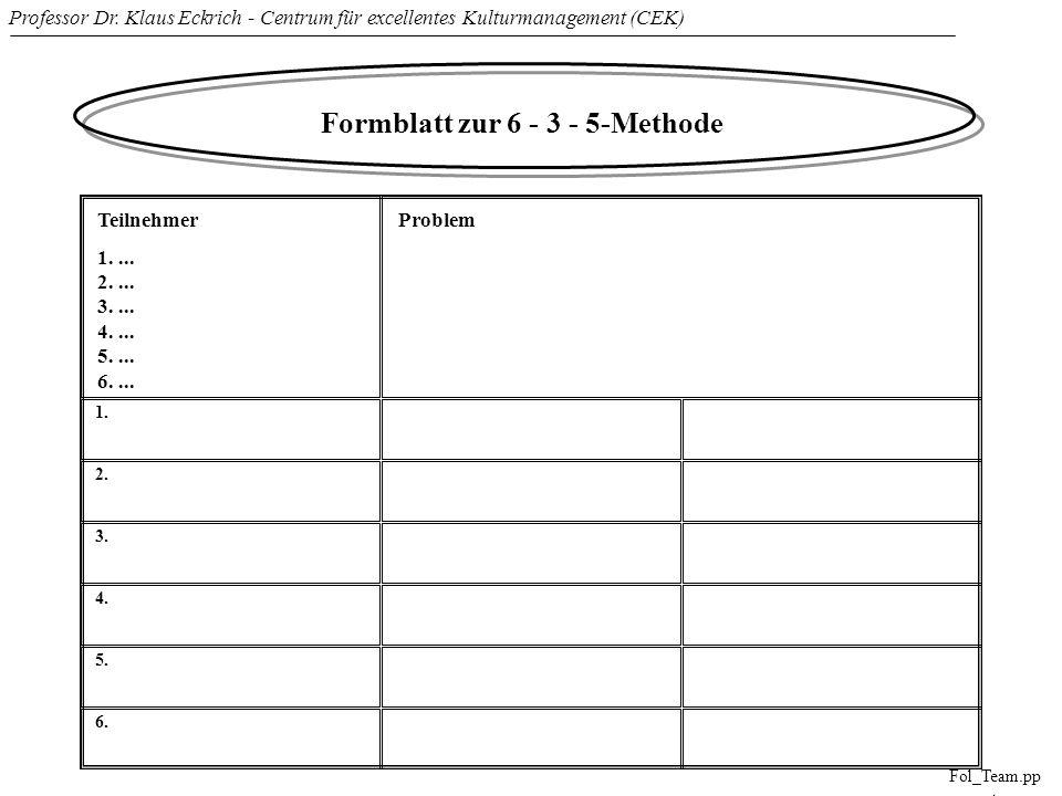 Formblatt zur 6 - 3 - 5-Methode
