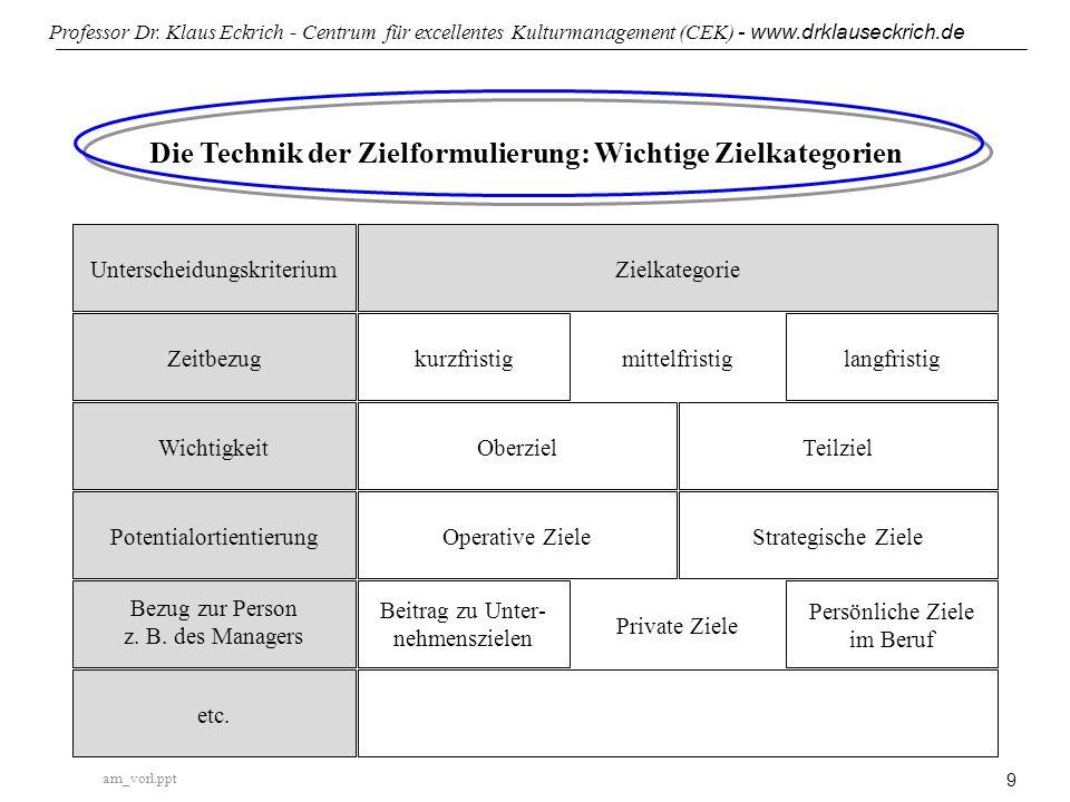 Die Technik der Zielformulierung: Wichtige Zielkategorien