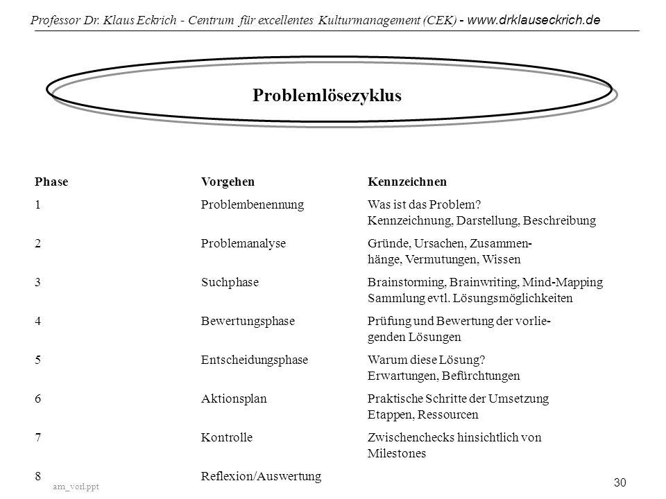 Problemlösezyklus Phase Vorgehen Kennzeichnen