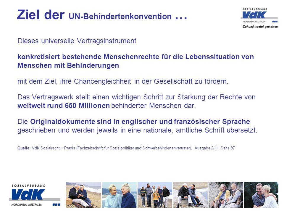 Ziel der UN-Behindertenkonvention …