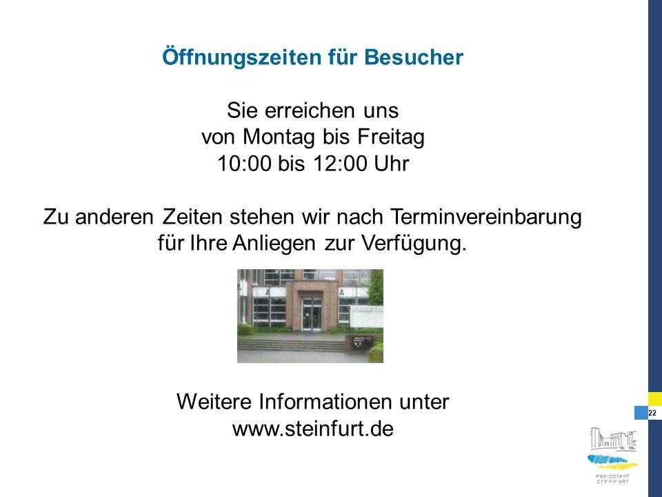 Öffnungszeiten für Besucher
