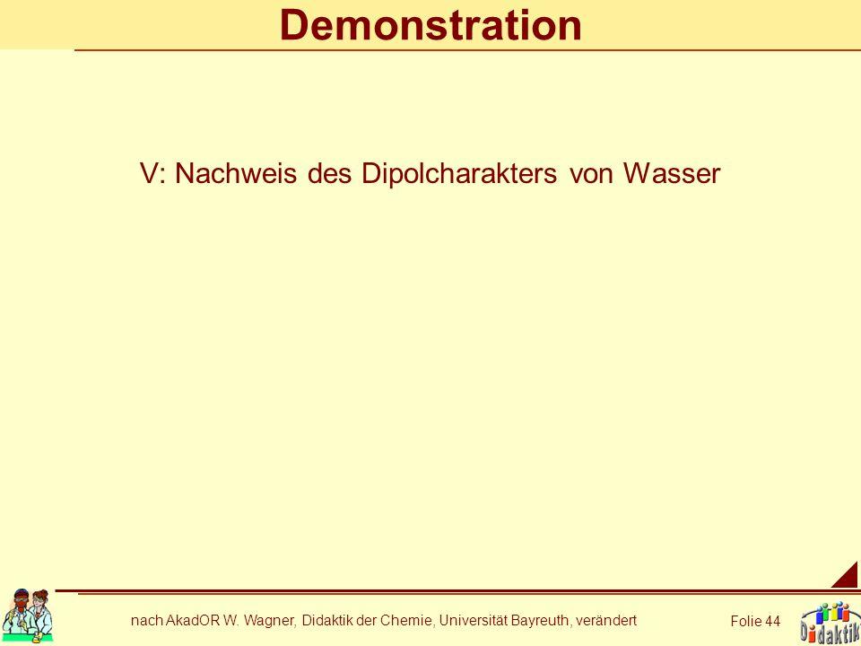 V: Nachweis des Dipolcharakters von Wasser
